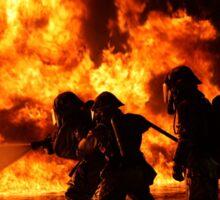 Firefighter bracing during firefighting Sticker