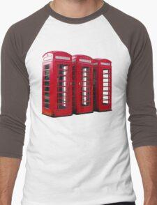 Red Phoneboxes Men's Baseball ¾ T-Shirt