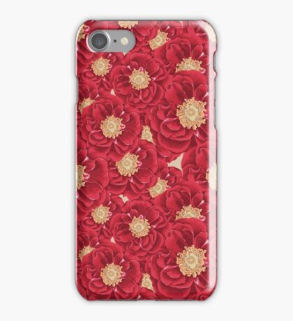 Red Peonies Saturated Print iPhone Case/Skin