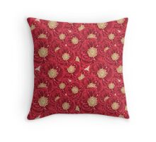 Red Peonies Saturated Print Throw Pillow