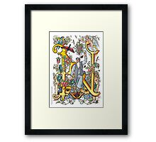 """The Illustrated Alphabet Capital  N  """"Getting personal"""" Framed Print"""