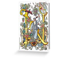 """The Illustrated Alphabet Capital  N  """"Getting personal"""" Greeting Card"""