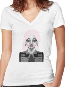 004 Long Pink Bob & L.O.V.E. Earrings Women's Fitted V-Neck T-Shirt