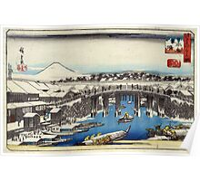 Nihonbashi Clearing After Snow - Hiroshige Ando - 1837 - woodcut Poster