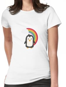 Rainbow Penguin   Womens Fitted T-Shirt
