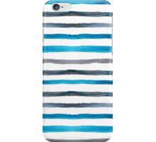 Azure blue and grey watercolor stripes iPhone Case/Skin
