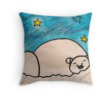 Polar Bear Starry Night Throw Pillow