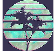 Vaporwave Palm Trees in the Sun - Blue Photographic Print