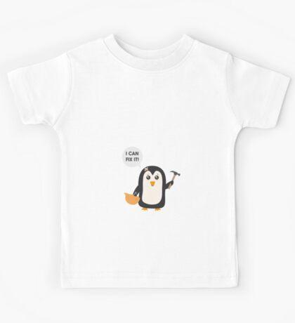 Construction worker Penguin   Kids Tee