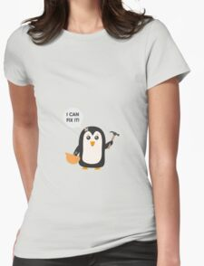 Construction worker Penguin   Womens Fitted T-Shirt