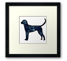 English Foxhound Black Watercolor Silhouette Framed Print