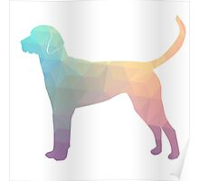 English Foxhound - Colorful Geometric Pattern Silhouette - Pastel Poster