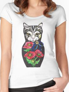 Poppy, tattoo style Cat Russian doll  Women's Fitted Scoop T-Shirt