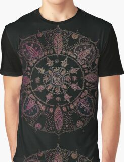 Pink Annona on Black Aqua Graphic T-Shirt