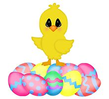 Easter Chick on Pastel Eggs Photographic Print