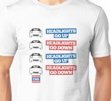 """Headlights Go Up/Down"" Miata MX-5 Unisex T-Shirt"