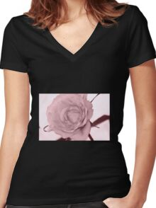 Rose art pink Women's Fitted V-Neck T-Shirt