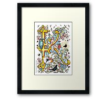 """The Illustrated Alphabet Capital  K  """"Getting personal"""" Framed Print"""