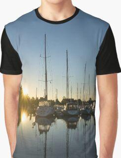 Rainbow Sunrays - Summer Sunrise With Yachts Graphic T-Shirt