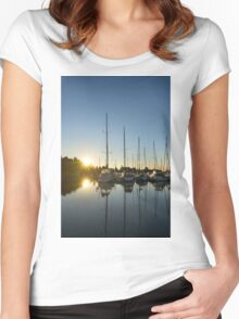 Rainbow Sunrays - Summer Sunrise With Yachts Women's Fitted Scoop T-Shirt