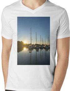 Rainbow Sunrays - Summer Sunrise With Yachts Mens V-Neck T-Shirt