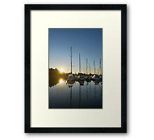 Rainbow Sunrays - Summer Sunrise With Yachts Framed Print