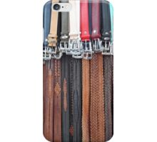 Leather Belts Hanging on Street Market Stall iPhone Case/Skin