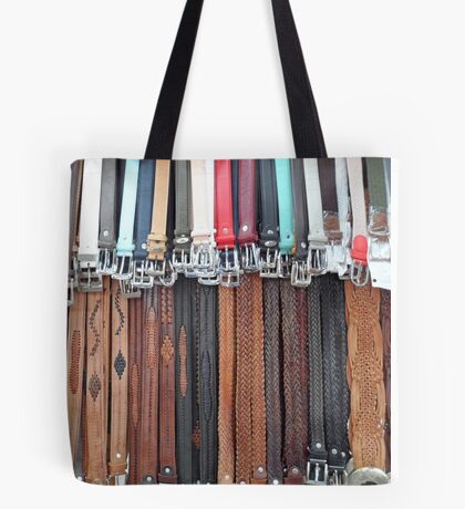 Leather Belts Hanging on Street Market Stall Tote Bag
