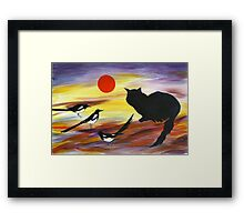 The Magpies tell Meow of Red Framed Print
