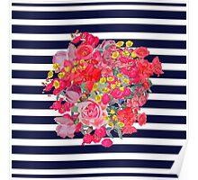 Vintage Floral Burst on Navy Stripes Poster
