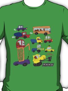 Child's hand draw cars.Funny colored cartoon Doodle T-Shirt