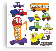 Child's hand draw cars.Funny colored cartoon Doodle Canvas Print