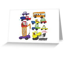 Child's hand draw cars.Funny colored cartoon Doodle Greeting Card