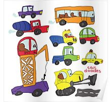 Child's hand draw cars.Funny colored cartoon Doodle Poster