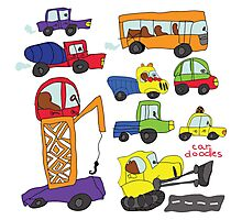 Child's hand draw cars.Funny colored cartoon Doodle Photographic Print