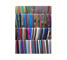 Rows Stripes of Hanging Colourful Pashmina Scarves  Art Print
