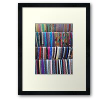 Rows Stripes of Hanging Colourful Pashmina Scarves  Framed Print
