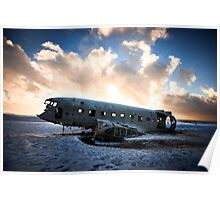 Plane wreck in Southern Iceland Poster