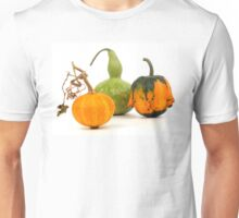 Three decorative pumpkins - green, yellow and orange on a white background Unisex T-Shirt