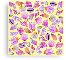 Summer Seashells in Girly Neon Colors Pattern Canvas Print