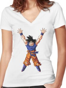 Goku gather huge Amounts of Energy for a Spirit Bomb - Dragon Ball Z Women's Fitted V-Neck T-Shirt