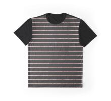 Elegant Chic Rose Gold Stripes and Black Graphic T-Shirt