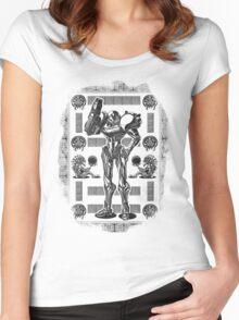 Metroid Samus Aran Geek Line Artly Women's Fitted Scoop T-Shirt