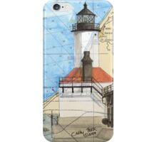 Michigan City Lighthouse IN Chart Cathy Peek iPhone Case/Skin