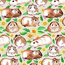 Guinea Pigs and Daisies in Watercolor by micklyn