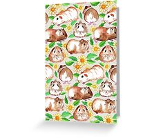 Guinea Pigs and Daisies in Watercolor Greeting Card