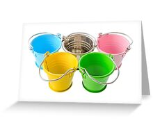 Five colorful buckets, arranged as a symbol of Olympic Games, isolated on white background Greeting Card