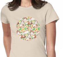 Guinea Pigs and Daisies in Watercolor Womens Fitted T-Shirt