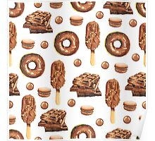 Chocolate Lovers Dessert Pattern Poster