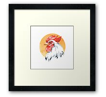 Rooster. Watercolor Framed Print